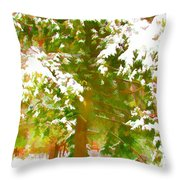 Winter In  Catskills Throw Pillow by Lanjee Chee