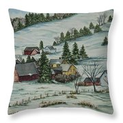 Winter In East Chatham Vermont Throw Pillow by Charlotte Blanchard