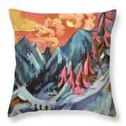 Winter Landscape In Moonlight Throw Pillow by Ernst Ludwig Kirchner