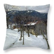 Winter Landscape Near Kutterling Throw Pillow by Johann Sperl