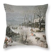 Winter Throw Pillow by Lucas van Valckenborch