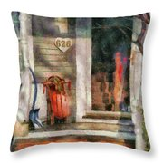 Winter - Rosebud and Shovel - Painted Throw Pillow by Mike Savad