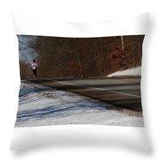 Winter Run Throw Pillow by Linda Shafer