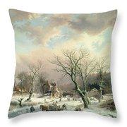 Winter Scene   Throw Pillow by Johannes Petrus van Velzen
