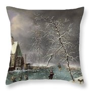 Winter Scene Throw Pillow by Louis Claude Mallebranche