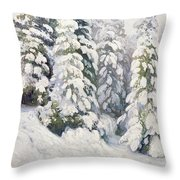 Winter Tale Throw Pillow by Aleksandr Alekseevich Borisov