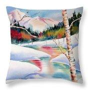 Winter's Light Throw Pillow by Deborah Ronglien