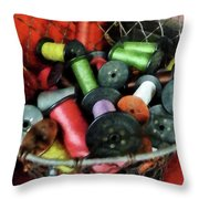 Wire Basket With Thread Throw Pillow by Susan Savad