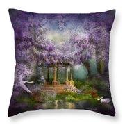 Wisteria Lake Throw Pillow by Carol Cavalaris