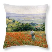 Woman In A Poppy Field Throw Pillow by Leon Giran Max