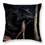 Woman In Black Flying Outfit Throw Pillow by Oleksiy Maksymenko