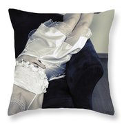 Woman Lying On Chair Throw Pillow by Joana Kruse