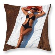 Woman Sunbathing Throw Pillow by Oleksiy Maksymenko