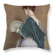 Woman With A Fan Throw Pillow by John Dawson Watson