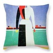 Woman With A Rake Throw Pillow by Kazimir Severinovich Malevich