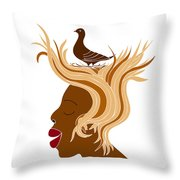 Woman With Bird Throw Pillow by Frank Tschakert