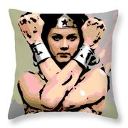 Wonder Woman Throw Pillow by George Pedro