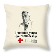 Woodrow Wison Red Cross Roll Call Throw Pillow by War Is Hell Store