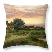 Worcestershire Cottages Throw Pillow by Benjamin William Leader