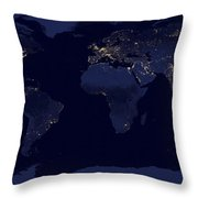 World City Lights Throw Pillow by Adam Romanowicz