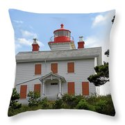 Yaquina Lighthouses - Yaquina Bay Lighthouse Oregon Throw Pillow by Christine Till
