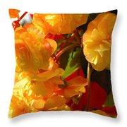 Yellow Begonia Flowers.  Victoria Throw Pillow by Darlyne A. Murawski