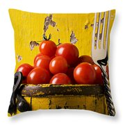 Yellow bucket with tomatoes Throw Pillow by Garry Gay