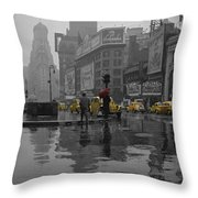 Yellow Cabs New York Throw Pillow by Andrew Fare