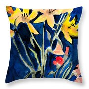 Yellow Daylilies Throw Pillow by Arline Wagner