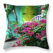 Yellow Door Throw Pillow by Michael Thomas