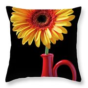 Yellow Fancy Daisy In Red Vase Throw Pillow by Garry Gay