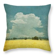 Yellow Field On Old Grunge Paper Throw Pillow by Setsiri Silapasuwanchai