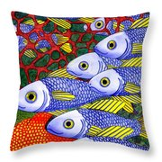 Yellow Fins Throw Pillow by Catherine G McElroy