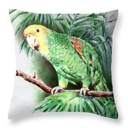 Yellow-headed Amazon Parrot Throw Pillow by Arline Wagner