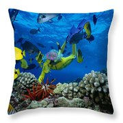 Yellow Scuba Diver Throw Pillow by Ed Robinson - Printscapes