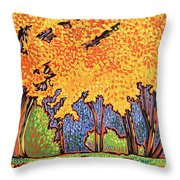 Yellow Tree Throw Pillow by Nadi Spencer