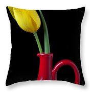 Yellow tulip in red pitcher Throw Pillow by Garry Gay