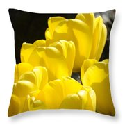 Yellow Tulips Floral Art Prints Nature Garden Throw Pillow by Baslee Troutman