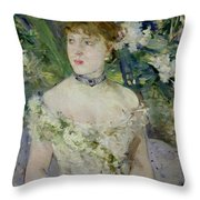 Young girl in a ball gown Throw Pillow by Berthe Morisot