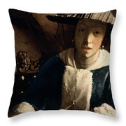 Young Girl With A Flute Throw Pillow by Jan Vermeer