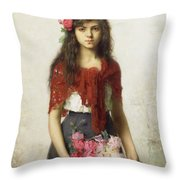 Young Girl With Blossoms Throw Pillow by Alexei Alexevich Harlamoff