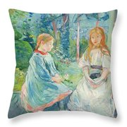 Young Girls at the Window Throw Pillow by Berthe Morisot