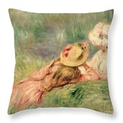 Young Girls On The River Bank Throw Pillow by Pierre Auguste Renoir