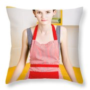 Young House Wife On Yellow Kitchen Background Throw Pillow by Jorgo Photography - Wall Art Gallery
