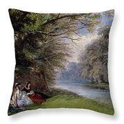 Young ladies by a river Throw Pillow by John Edmund Buckley
