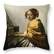 Young Woman At A Virginal Throw Pillow by Jan Vermeer