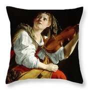 Young Woman With A Violin Throw Pillow by Orazio Gentileschi