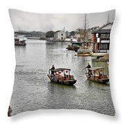 Zhujiajiao - A Glimpse Of Ancient Yangtze Delta Life Throw Pillow by Christine Till