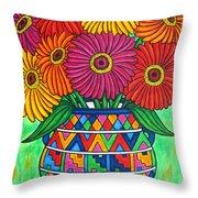 Zinnia Fiesta Throw Pillow by Lisa  Lorenz