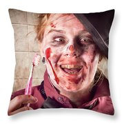 Zombie at dentist holding toothbrush. Tooth decay Throw Pillow by Ryan Jorgensen